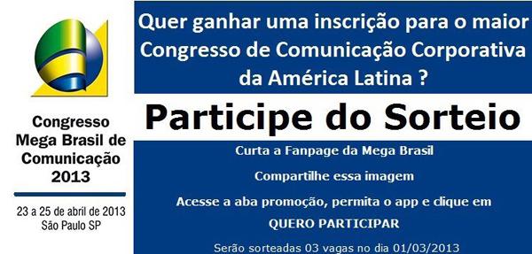 Mega Brasil sorteia vagas no Facebook